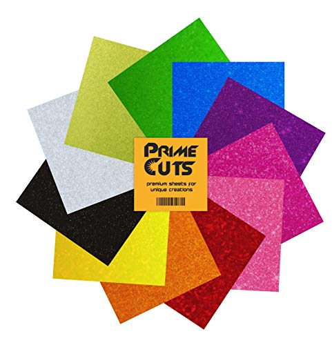 PrimeCuts USA Glitter Heat Transfer Vinyl Sheets - 11 Sheets Glitter Color Pack 12'' x 10'' for T Shirts, Hats, Clothing - Best Iron On HTV Vinyl for Silhouette Cameo, Cricut or Heat Press Machine Tool by PrimeCuts