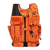 GNNFIC Bright Orange Hunting Vest Miliary Tactical Molle Airsoft Vest Outdoor Combat Traning for Adults