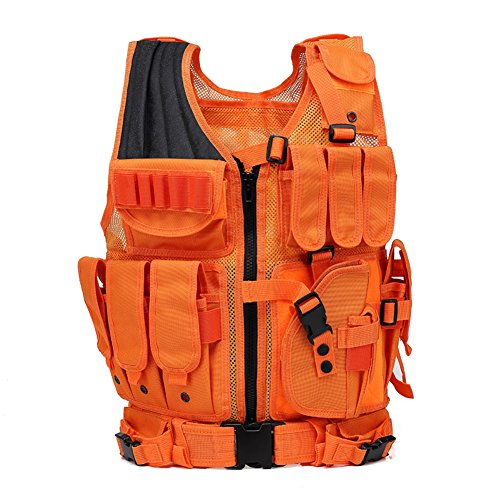 GNNFIC Bright Orange Hunting Vest Miliary Tactical Molle Airsoft Vest Outdoor Combat Traning for Adults (Best Orange Hunting Vest)