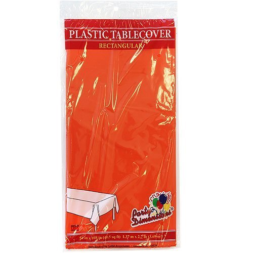Plastic Party Tablecloths - Disposable, Rectangular Tablecovers - 4 Pack - Orange - By Party Dimensions]()