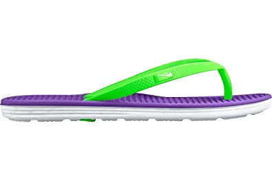 ee235adbf4838 Nike Youths Solarsoft Thong 2 Synthetic Sandals (HYPER GRAPE WHITE  VOLTAGE  GREEN