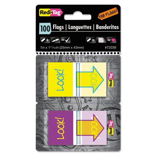 Redi-Tag Pop-Up Fab Flags W/ Dispenser, quot;Look!quot;, Purple/Yellow; Yellow/Teal, (Fab Tag)