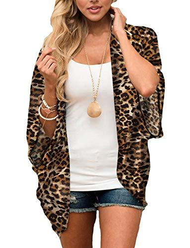 Chunoy Women Plus Size Short Sleeve Shawl Chiffon Kimono Cover Up Leopard XX-Large