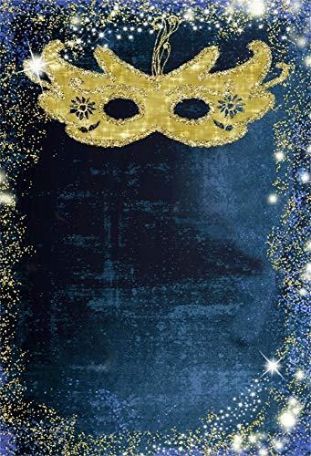 AOFOTO 7x10ft Abstract Background Golden Masquerade Mask Backdrop Carnival Masque Mardi Gras School Prom Poster Fancy Dress Costume Ball Decoration Wallpaper Photo Studio Props Vinyl Video -