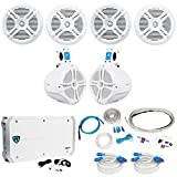 4) Rockville RMSTS65W 6.5'' 1600w Marine Boat Speakers+8'' Wakeboards+Amp+Wire Kit