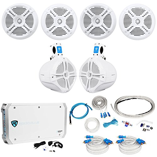 "Rockville 4 RMSTS65W 6.5"" 1600w Marine Boat Speakers+8"" Wake"