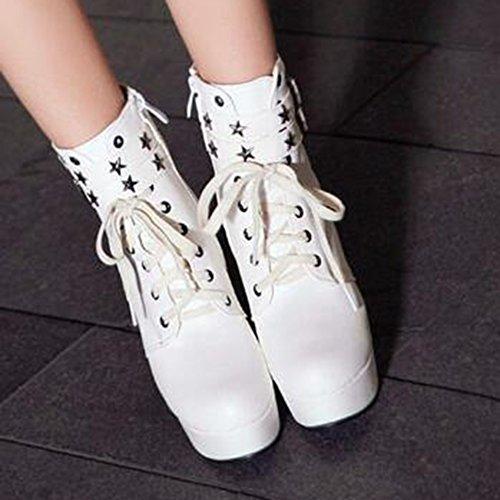 Easemax Mujeres Trendy Buckled Straps Plataforma De Punta Redonda High Chunky Heel Lace Up Botas De Cremallera Blanco