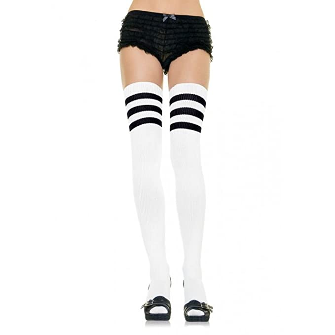 6c615a9f7 Image Unavailable. Image not available for. Color  Women Black White Stripe  Thigh High Athletic Socks Referee Halloween Costume