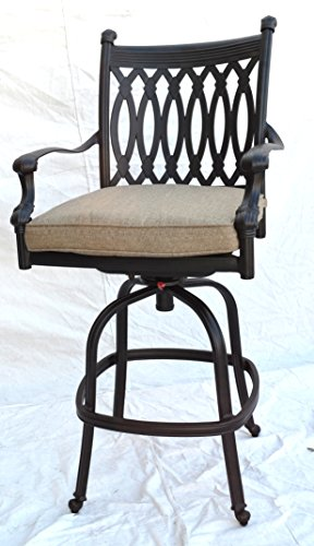 (Grand Tuscany Cast Aluminum Powder Coated Barstool With Sunbrella Cushions - Set of 6 - Antique)