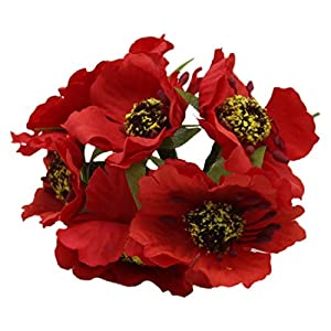 Artificial Poppies Camellia - SODIAL(R) Silk Poppies Camellia 5cm 60pcs/lot Artificial Flowers Corn Poppy Hand Made Small Wedding Decoration£¨red£ 107