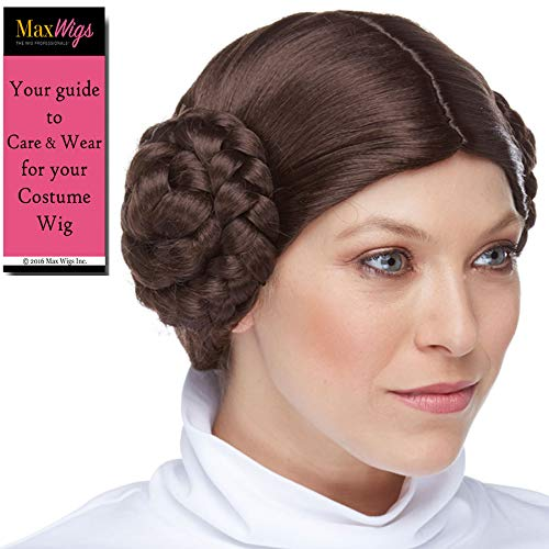 Wig Synthetic Hair Sepia (Princess Leia Color Brown - Sepia Wigs Traditional Leah Star Buns Carrie Space Movie Synthetic Cosplay Halloween Dress Up Fancy Wars Bundle MaxWigs Hairloss Booklet)