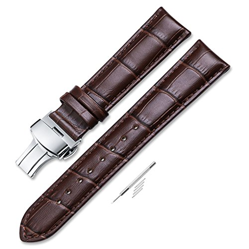 iStrap 20mm Croco Calf Leather Replacement Watch Band Strap w/Push Button Deployment Clasp ()