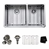 Double Kitchen Sink Kraus KHU103-33 33 inch Undermount 60/40 Double Bowl 16 gauge Stainless Steel Kitchen Sink