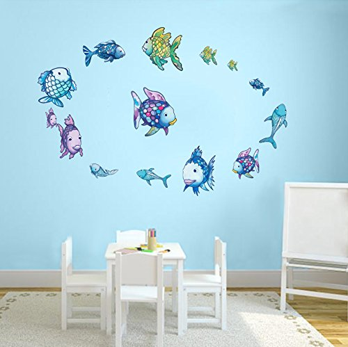 - DecalMile Rainbow Fish Wall Stickers Ocean Wall Decals Removable Vinyl Wall Decor Murals for Bathroom Nursery Room Children's Room