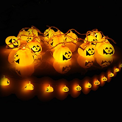 [WELOVE Battery Powered 3D Jack-O-Lantern Pumpkin 16 LED String Lights Halloween Decoration Lights 9.8ft/3meters for Indoor/Covered Outdoor/Cosplay/Halloween Parties & Home] (Halloween Lighting)