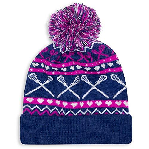 Girls Lacrosse Pom Pom Beanie Hat | Lax Hats by ChalkTalk Sports Navy/Pink