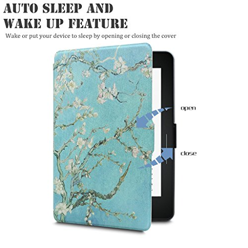 Walnew Protective case for Amazon Kindle Voyage(2014) The Thinnest and Lightest Colorful Painting PU Leather Cover with Auto Sleep/Wake Function,Tree and Flower by WALNEW (Image #4)'