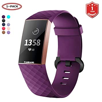 FunBand Bracelet Fitbit Charge 3, Bande en Silicone Souple Sangle de Remplacement Reglables Sport Accessorie