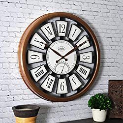 FirsTime & Co. Plaques Outdoor Wall Clock, 20, Antique Brushed Copper, Satin Black