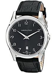 Hamilton Mens H38511733 Jazzmaster Stainless Steel Watch with Black Leather Band