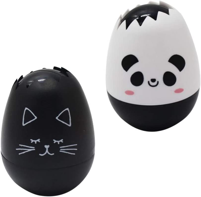 Cat Pattern + Panda Pattern YeahiBaby Egg Shaped Correction Tape White Out Tape Stationery School Office Supplies for Kids Students 2Pcs