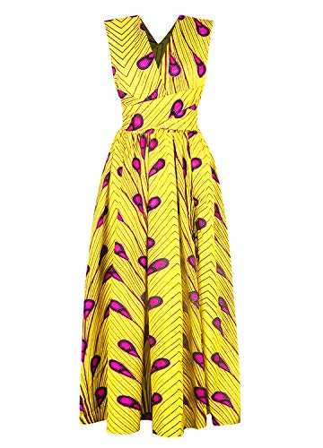 (Vimoisa Women Sexy Boho African Dress V-Neck Multi-Way Dress Pleated Dress Floral Print(L) )