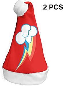 LXXTK 2Pcs Rainbow Dash Christmas Party Hat and Santa Hats Home Decor Accessories