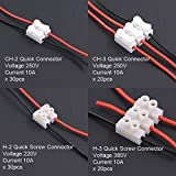 Findfly 100Pcs 2P CH2 + 3P CH3 Quick Connector Spring Wire Connector Screw Terminal Barrier Block for LED Strip Light Wire Connecting - 4 Styles