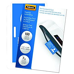 Fellowes Laminating Pouches, Thermal, ID Tag Punched, 7 Mil, 100 Pack (52050)