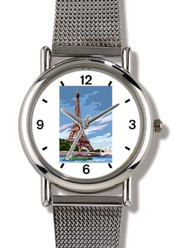 Eiffel Tower - Panoramic View from the Seine River Paris & France Theme - WATCHBUDDY ELITE Chrome-Plated Metal Alloy Watch with Metal Mesh Strap-Size-Small ( Children's Size - Boy's Size & Girl's Size ) by WatchBuddy