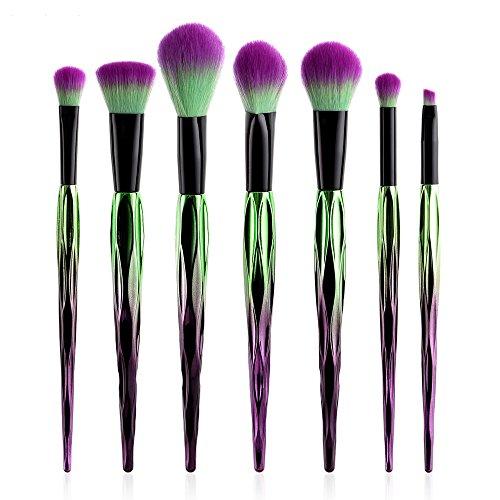 Makeup Brush Set, Fenleo 7Pcs Professional Makeup Brushes, Face Eye Shadow Eyeliner Foundation Blush Lip Powder Liquid Cream Blending Brush,Electroplated Purple Green Bauhinia - Powder Green Foundation