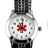 Womens Stainless Steel Medical Symbol Watch Alerts Responders To Conditions