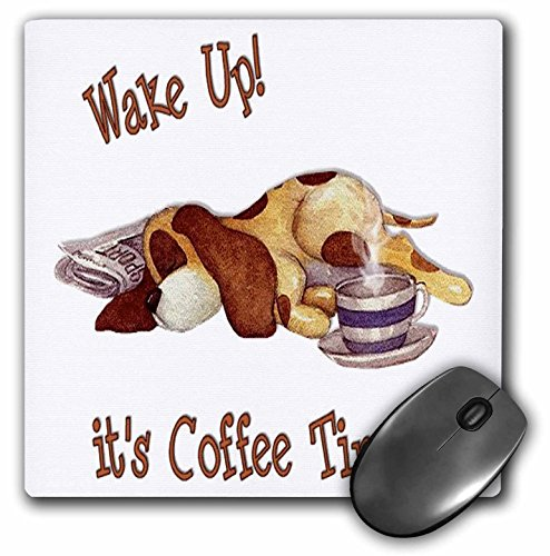 Price comparison product image 3dRose LLC 8 x 8 x 0.25 Inches Mouse Pad, Sleeping Spotted Dog On A Newspaper with A Cup of Coffee, Great Gift for Coffee And Dog Owners (mp_162124_1)