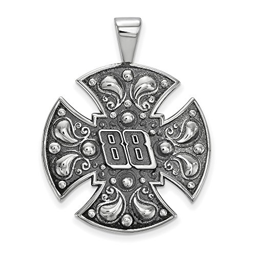 Jewelry Stores Network Dale Earnhardt Jr #88 Men's Large Maltese Style Cross Pendant in Sterling Silver