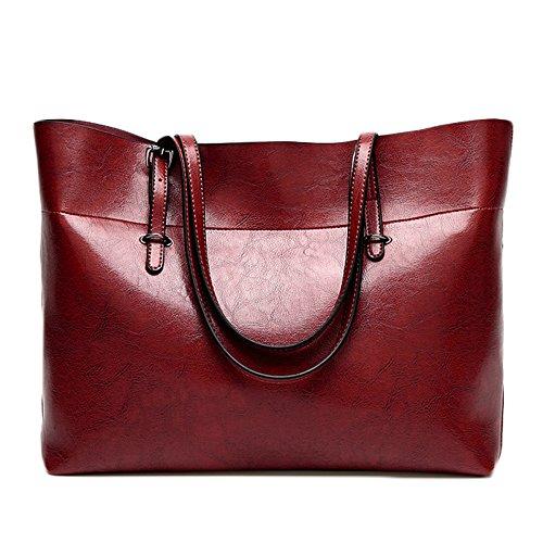 Women's Shoulder Bag City Bag Solid Color Soft Leather Handbag Elegant Retro Vintage Bag Red