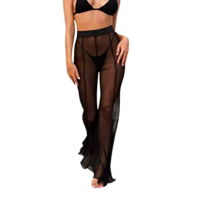 71131ad90f Bikini Cover up Trousers Women Sexy Beach Transparent High Waist Long Pants  Mesh Sheer See Through