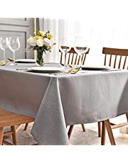maxmill Jacquard Table Cloth Swirl Pattern Spillproof Wrinkle Resistant Heavy Weight Soft Tablecloth for Kitchen Dinning Tabletop Decoration Outdoor Picnic Rectangle 52 x 70 Inch Light Grey