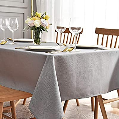 maxmill Jacquard Table Cloth Swirl Pattern Spillproof Wrinkle Resistant Oil Proof Heavy Weight Soft Tablecloth for Kitchen Dinning Tabletop Decoration Outdoor Picnic Rectangle 52 x 70 Inch Light Grey - Diverse Choices: These crafted tablecloths are available in 9 vibrant colors and 7 sizes of rectangular and round shapes. We also offer matching and pleasing napkins. Premium Quality: This durable tablecloth is made of premium and heavy weight polyester jacquard fabric to ensure the protection of your table and furniture. Made of well treated fabric, this table cloth is smooth, spill-proof and wrinkle resistant. Versatile Occasions: Our delicate tablecloth is designed for a variety of happy occasions - suitable for your dining-room table, kitchen table, Cafes, restaurants, diners, catering, weddings, brunches, buffets, parties, picnics, outdoor patio table and more. - tablecloths, kitchen-dining-room-table-linens, kitchen-dining-room - 51XzVCnVPvL. SS400  -