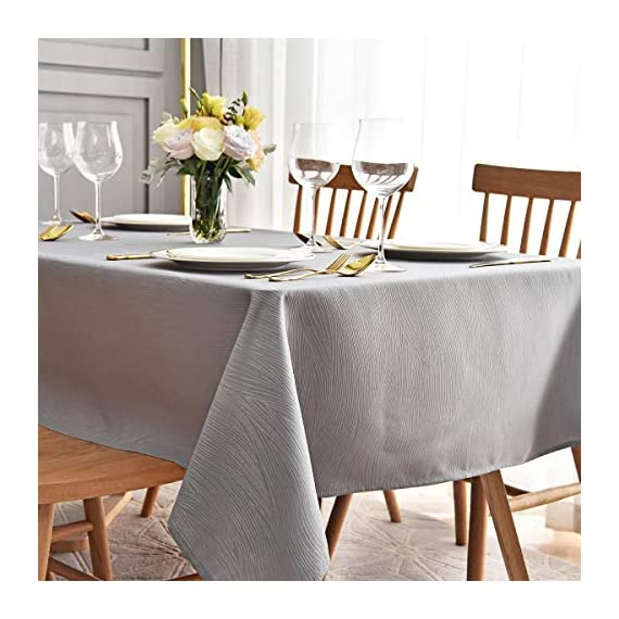 maxmill Jacquard Table Cloth Swirl Pattern Spillproof Wrinkle Resistant Oil Proof Heavy Weight Soft Tablecloth for Kitchen Dinning Tabletop Decoration Outdoor Picnic Rectangle 52 x 70 Inch Light Grey - Diverse Choices: These crafted tablecloths are available in 9 vibrant colors and 7 sizes of rectangular and round shapes. We also offer matching and pleasing napkins. Premium Quality: This durable tablecloth is made of premium and heavy weight polyester jacquard fabric to ensure the protection of your table and furniture. Made of well treated fabric, this table cloth is smooth, spill-proof and wrinkle resistant. Versatile Occasions: Our delicate tablecloth is designed for a variety of happy occasions - suitable for your dining-room table, kitchen table, Cafes, restaurants, diners, catering, weddings, brunches, buffets, parties, picnics, outdoor patio table and more. - tablecloths, kitchen-dining-room-table-linens, kitchen-dining-room - 51XzVCnVPvL. SS570  -