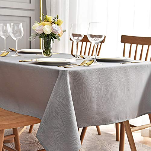 maxmill Jacquard Tablecloth Swirl Design Water Resistance Antiwrinkle Oil Proof Heavy Weight Soft Table Cloth for Buffet Banquet Parties Event Holiday Dinner Rectangle 60 x 84 Inch Light Gray