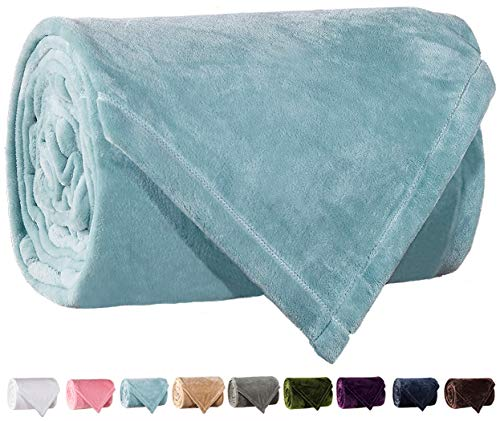 Blanket Silky Fleece (LBRO2M Fleece Bed Blanket Super Soft Warm Fuzzy Velvet Plush Throw Lightweight Cozy Couch Blankets Twin(90-Inch-by-65-Inch) Turquoise)