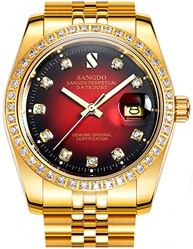 Men Diamond Inlay Bezel Red Dial Stainless Steel Band Calendar Waterproof Automatic Mechanical Gold Watch (Gold red)