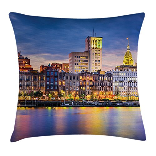 Dinner Reflections European (Ambesonne Scenery Decor Throw Pillow Cushion Cover by, European City Country Landscape Light Reflection to the Sea Harbor Image Photo, Decorative Square Accent Pillow Case, 20 X 20 Inches, Multi)