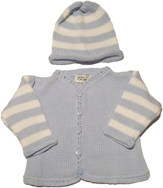 Hat Set Knitted Cotton Blue White Stripe Crocheted Trim Cardigan Sweater