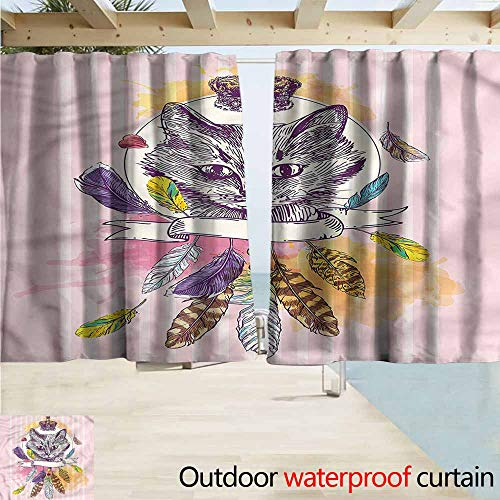 - MaryMunger Rod Pocket Blackout Curtain Panels Feather Head of a Cat Crown Outdoor Privacy Porch Curtains W55x72L Inches