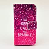 BEST- Eshop Retro Keep Calm and Sparkle PU Leather + Silicone Magnetic Flip Wallet Card Case Cover with Stand for Apple iPhone 4 4S , With Credit Cards Slots/ Money Holder