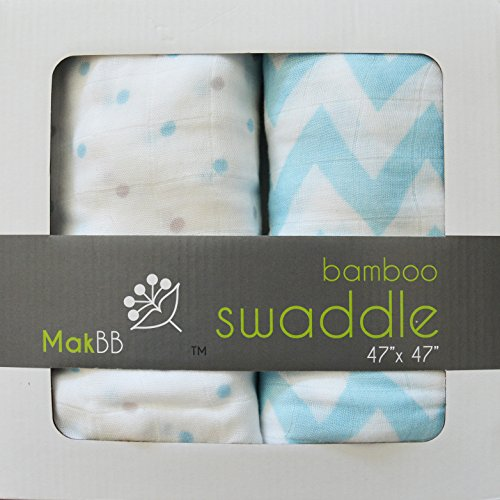 MakBB Baby Swaddle Blanket, Bamboo Rayon, 2 count 47 x 47 (Blue - Boy).