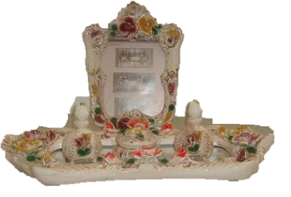 Capodimonte Style Ceramic 5 pc Rectangle Vanity Set with Flowers