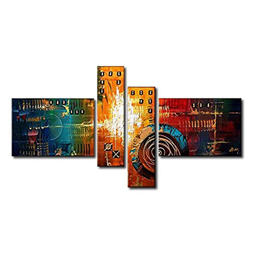 VASTING ART 4-Panel 100% Hand-Painted Oil Paintings Landscape Time Machine Modern Abstract Contemporary Artwork Canvas Stretched Wood Framed Ready To Hang Home Decoration Wall Decor Living Bedroom