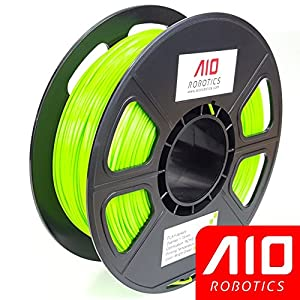 AIO Robotics AIOBRIGHTGREEN PLA 3D Printer Filament, 0.5 kg Spool, Dimensional Accuracy +/- 0.02 mm, 1.75 mm, Bright Green from AIO Robotics